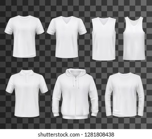 Shirts template of white blank t-shirt, polo and hoodie, tank top, sweatshirt, long sleeve and sleeveless tshirts mockup. Front view of sport clothes and uniform, advertising or promotion,  vector