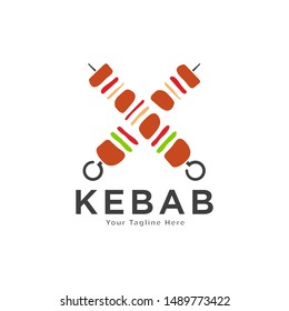 Shish kebab logo design. Meat skewer with vegetable vector design. Grilled meat skewers logotype