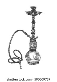 Shisha, hookah hand drawn doodle Illustration. Vector illustration of hookah with smoking pipe, hubble bubble. Realistic smoking attribute. Vintage engraved style