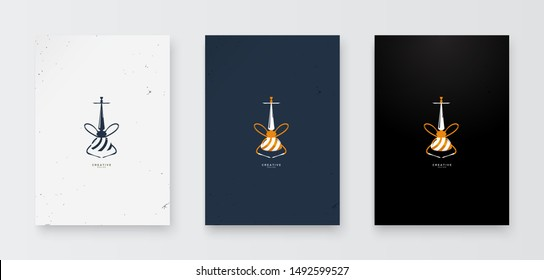 Shisha logo with a luxurious concept with a dark background and elegant design.