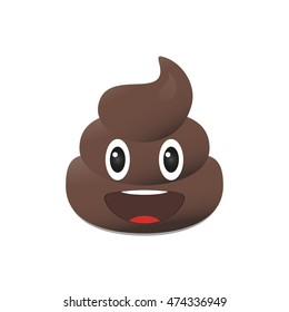 Shit emoji. Poo emoticons. Poop emoji face isolated.
