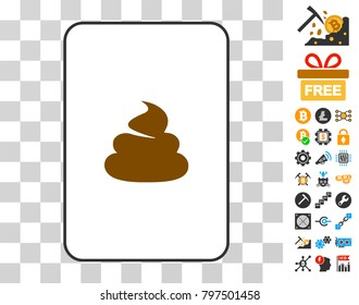 Shit gambling card pictogram with bonus bitcoin mining and blockchain clip art. Flat vector pictograms for crypto-currency toolbars.