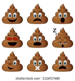 Shit icon set, sleep, shut up, smiling, sad faces poop emoticons isolated on white background