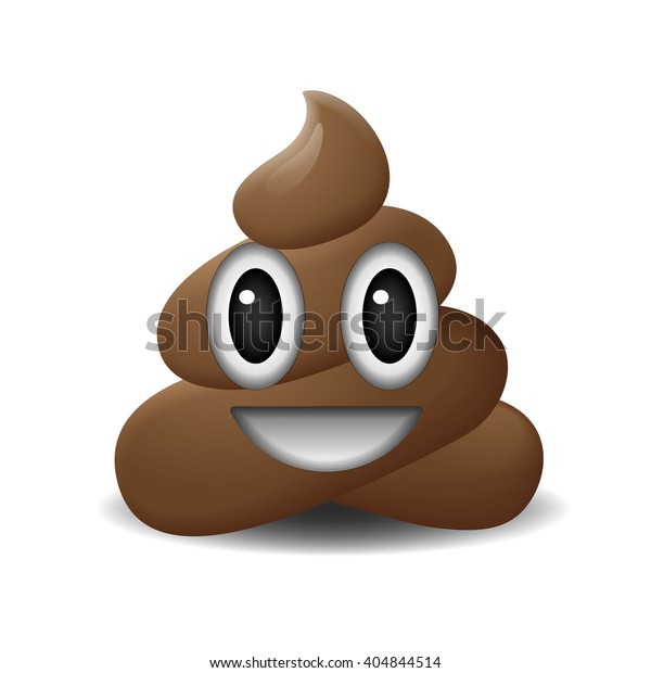 Shit icon, smiling face, symbol, emoji,  illustration.