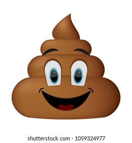 Shit icon, smiling faces, poop emoticon isolated on white background.