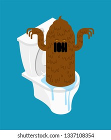 Shit monster in toilet. Turd brown Mucus character. Vector illustration