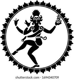 Shiva nataraja silhouette in a circle of fire