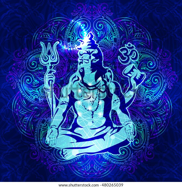 Shiva Transcendental Spiritual Image Meditation Lord Stock