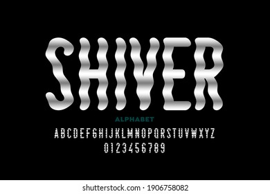 Shiver style font design, alphabet letters and numbers vector illustration