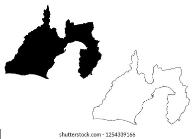 Shizuoka Prefecture (Administrative divisions of Japan, Prefectures of Japan) map vector illustration, scribble sketch Shizuoka map