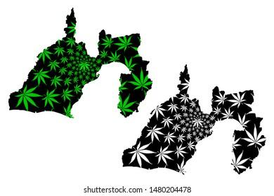 Shizuoka Prefecture (Administrative divisions of Japan, Prefectures of Japan) map is designed cannabis leaf green and black, Shizuoka map made of marijuana (marihuana,THC) foliage,