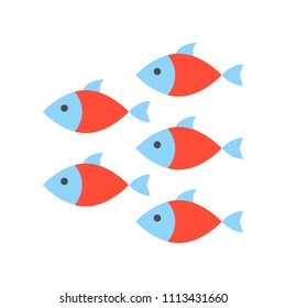 Shoal icon, set of ocean life icon, flat design vector