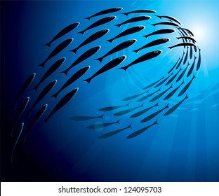 Shoal of sea fish swimming in group underwater in the ocean. Vector image, uses radial gradients and transparency.