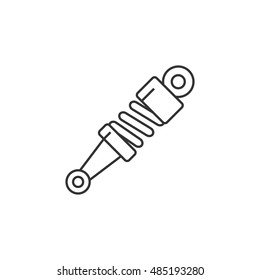 Shock absorber icon in thin outline style. Transportation motorcycle bike parts pressure mechanical