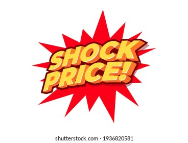 Shock Price, sale tag, poster design template, discount isolated sticker, vector.