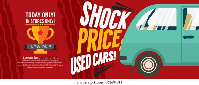 Shock Price Used Cars Sale 6250x2500 pixel Banner Vector Illustration