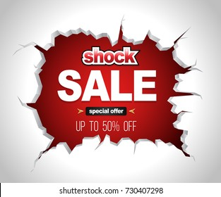 Shock sale banner on crack red wall for promotion advertising. Christmas and New Year sale vector illustration promotion event.