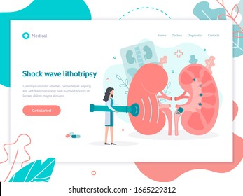 Shock wave lithotripsy. Splitting and removal of stones in the kidneys. Web banner design template. Medical flat vector illustration.
