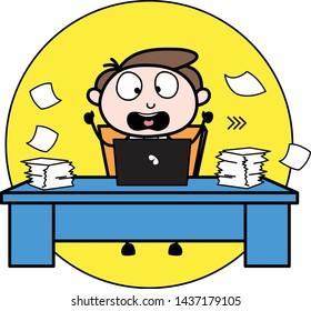Shocked After Loss His Data - Office Businessman Employee Cartoon Vector Illustration