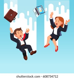 Shocked business man and woman colleagues falling down from the sky together after being fired or making work mistake. Bankruptcy and economic crisis concept. Flat style modern vector illustration.