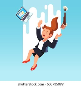 Shocked business woman with laptop computer falling down fast from the sky after being fired or making a mistake in work. Bankruptcy and economic crisis concept. Flat style modern vector illustration.