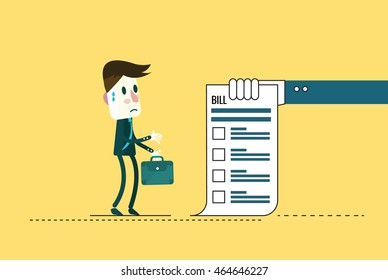 Shocked businessman looking at his bills.  flat character design. vector illustration