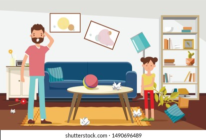 Shocked Father with his Daughter Looking at Mess in Living Room Flat Cartoon Vector Illustration. Broken Furniture, Rubbish, Flowers from Vase on Floor. Ball on Table. Displeased Girl.