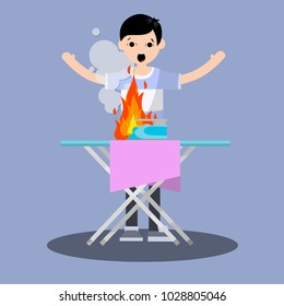 Shocked the guy waving his arms. the fire in the house. dangerous situation with iron. a bad garment and Ironing Board. compliance with safety standards. careful handling - Cartoon flat illustration