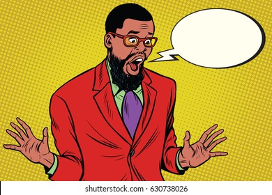 Shocked hipster bearded African American businessman says comic cloud. Pop art retro vector illustration