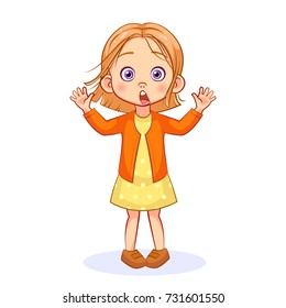 A shocked little girl with big eyes opened her mouth wide and raised her hands. Vector cartoon emotions.