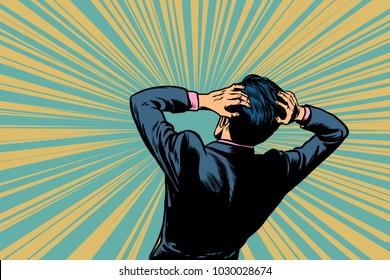 shocked man back, human reaction. Pop art retro vector illustration comic cartoon figure vintage kitsch