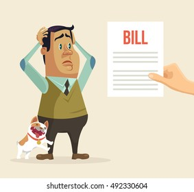 Shocked man character received bill. Vector flat cartoon illustration