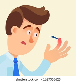 A shocked man looks at splinter in finger on his hand. Sharp piece of glass or wood in finger. Pain and red wound. Vector illustration, flat design, cartoon style. Isolated background.
