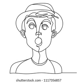 Shocked Man Portrait One Line Art. Surprised Male Facial Expression. Hand Drawn Linear Man Silhouette. Vector illustration