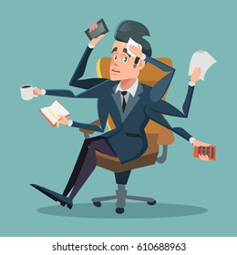 Shocked Multitasking Businessman at Office Work. Vector cartoon illustration