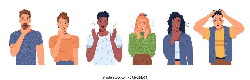 Shocked scared people faces set isolated flat cartoon portraits. Vector man and woman in stress, panicked or terrified characters in horror. Multi ethnic adults in fear, nervous frightened persons