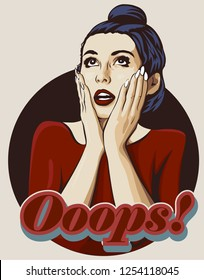 Shocked woman with open mouth. Surprised face with two hands.  Word Ooops. Vector image comics styled.