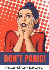 Shocked woman with open mouth. Surprised face with two hands. Vector image comics styled.