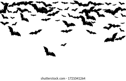 Shocking black bats group isolated on white vector Halloween background. Flittermouse night creatures illustration. Silhouettes of flying bats traditional Halloween symbols on white.