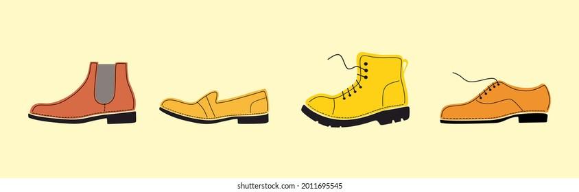 Shoe, boot, footwear image color set. Tailored handmade bespoke shoe, footwear.Shoe store. Bootmaker,shoemaker, cobbler. Сustom shoe atelier, workshop.DIY shoemaking. Isolated flat vector illustration