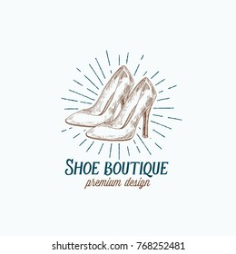 Shoe Boutique Retro Vector Sign, Symbol or Logo Template. High Heels Women Shoes Illustration and Vintage Typography Emblem. Isolated.