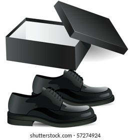 shoe box and man's black business shoes vector illustration