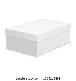 Shoe box mock up isolated on white background. Vector illustration