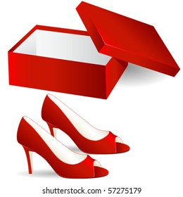 shoe box and red high heel vector illustration