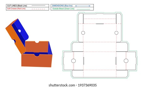 Shoe Boxes, pin on food box Blueprint Die Line template and 3D render
