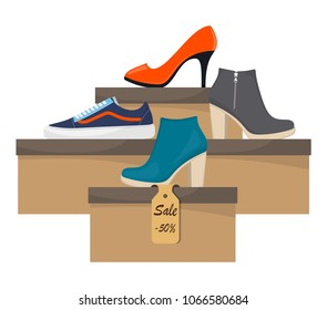 Shoe boxes with woman s footwear. Stylish modern sneakers, woman's high heel shoes on box, side view. The price tag with discount of 50 percent. Shoes sale in store. Vector flat illustration
