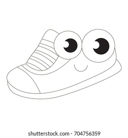 Shoe cartoon. Outlined funny illustration with thin line black stroke