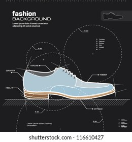 Shoe design. Man shoes vector. Fashion design background. Vector illustration. Infographics, silhouette, drawing, sketch, blueprint concept.
