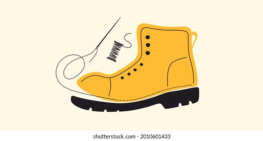 Shoe, footwear sewing and repair. Tailored handmade bespoke shoe, footwear.Bootmaker, shoemaker, cobbler tools. Сustom shoe atelier, workshop. DIY shoemaking.Colorful isolated flat vector illustration