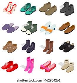 Shoe icons set in isometric 3d style. Men and women shoes set. Summer slipper   collection vector illustration